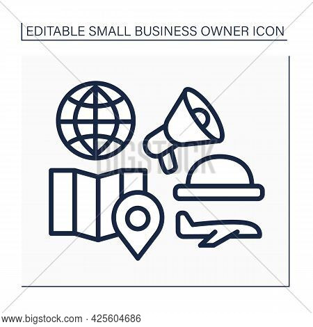 Tour Guide Line Icon. Organization Group Traveling. Finding Location, Excursion.small Business Owner