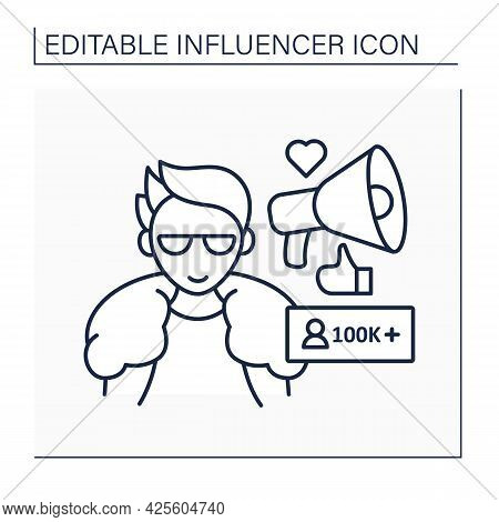 Macro Influencer Line Icon. Blogger With One Hundred Thousand Plus Subscribers. High Influence On Pe