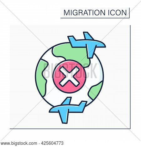 Internal Flies Color Icon. Border Crossing Ban. Migration Concept. Isolated Vector Illustration