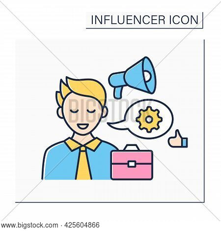 Industry Expert Influencer Color Icon.expert In Business World. Skilled At Industry Sector, Share In