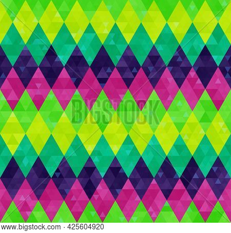 Abstract Geometric Harlequin Pattern From Rows Of Rhombuses In Green, Yellow, Pink And Purple Colors
