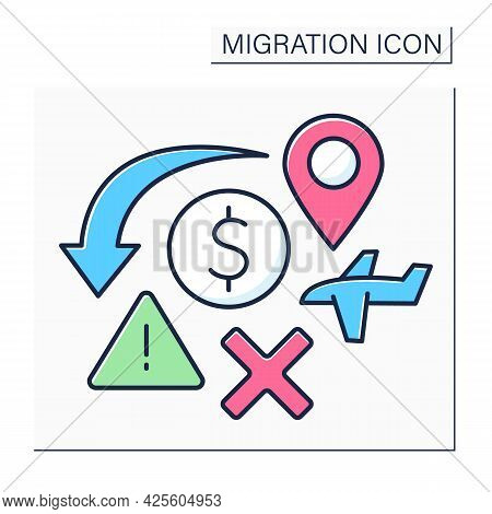 Crisis Color Icon. Humanitarian Catastrophe, Economical Crushes. Too Many Migrants. Migration Concep