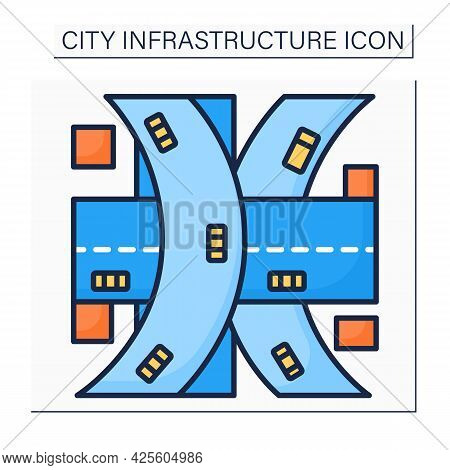 Multi-level Junction Color Icon. Road Junction To Let Traffic Pass Through Junction Without Interrup