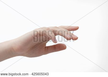 Beautiful Female Hand Isolate On A White Background, Neat Manicured Nails, Press Virtual Button, Pok