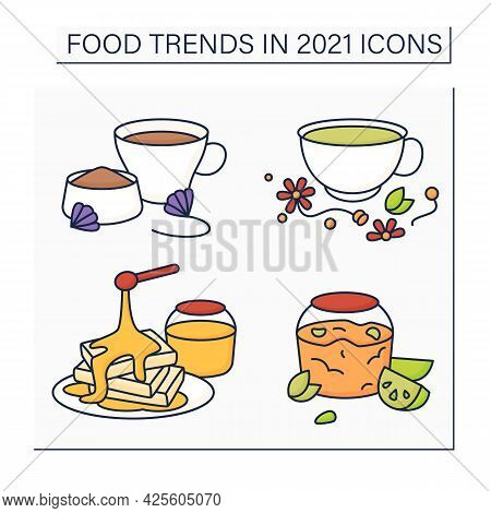 Food Trends Color Icons Set. Trendy Dishes. Jelly Recipe, Chicory And Herbs Drink, Hot Honey. New Re