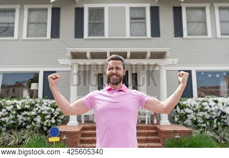 Happy Bearded Man Tenant Near New House After Rent Or Buy New Home, Tenancy