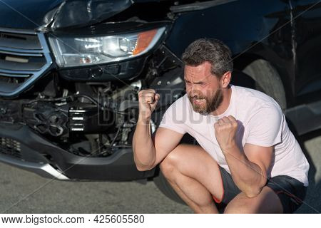 Frustrated Man Driver At Broken Car After Automobile Collision Car Accident, Car Insurance