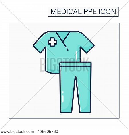 Scrub Suit Color Icon. Personal Protective Equipment. Uniform For Doctor, Nurse. Medical Ppe Concept