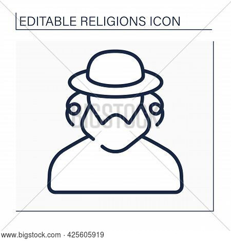 Judaism Line Icon. Representative Of Jewish Family. Ethnoreligious Group And Nation. Religion Concep