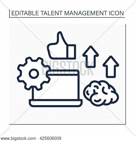 Employee Potential Line Icon. Improving Skills And Knowledge About Work. High Productivity. Talent M