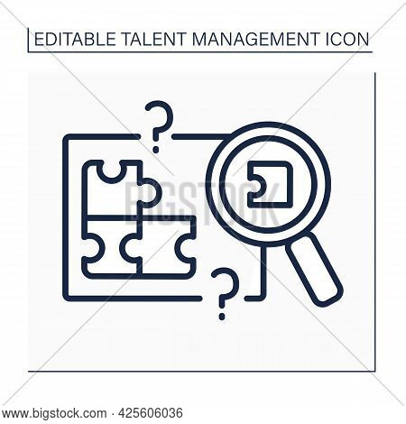 Skill Gap Analysis Line Icon. Research Lacks Skills And Knowledge. Talent Management Concept. Isolat