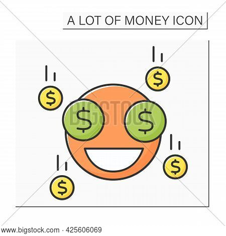 Money Color Icon. Money Sign In Eyes. Jackpot. Win. Wealth Concept. Isolated Vector Illustration