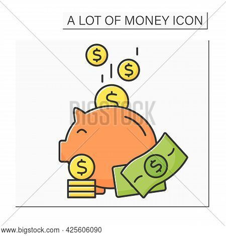 Money Color Icon. Piggybank. Puts Cash And Coins Into Moneybox. Economy Wealth Concept. Isolated Vec