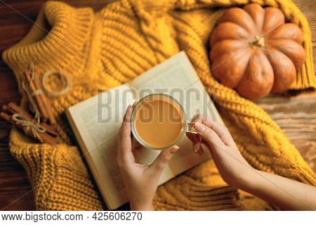 Vintage Book With Romantic Stories And Fairy Tales. Top View Of Autumn Composition With Book And Kni