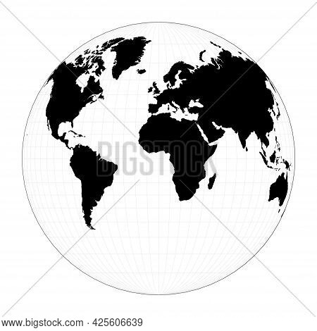 Vector World Map. Gilbert's Two-world Perspective Projection. Plan World Geographical Map With Grati