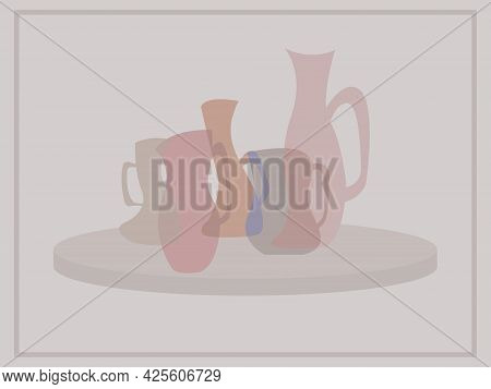 Vector Illustration In Pastel Colors With The Image Of Fancy-shaped Jugs For Interior Decoration Of