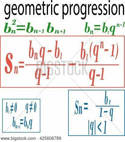 Mathematical Formula Geometric Progression Teaching Poster Vector Illustration