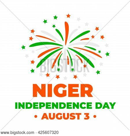 Niger Independence Day Typography Poster. National Holiday Celebrate On August 3. Easy To Edit Vecto