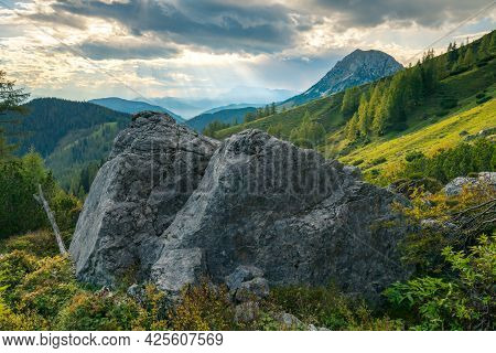 Dramatic Sunset In The Vast Alpine Valley Under The Hoher Dachstein Massif On A Summer Day With Two