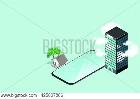 Work From Home Concept Is Presented In Isometric Style Of Home And Office Building With Smart Phone