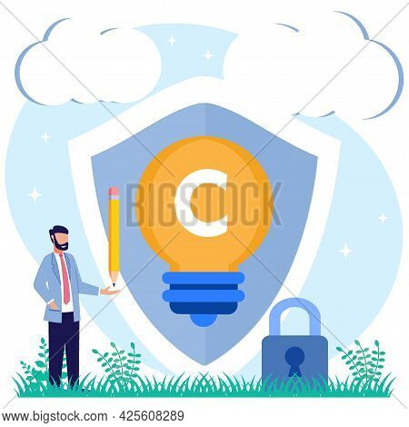 Intellectual Property Vector Illustration. The Concept Of Protection Of The Author's Work Idea Of 