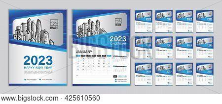 Wall Calendar 2023 Template Set, Set Desk Calendar 2023 Year, Happy New Year, Planner, Week Start On