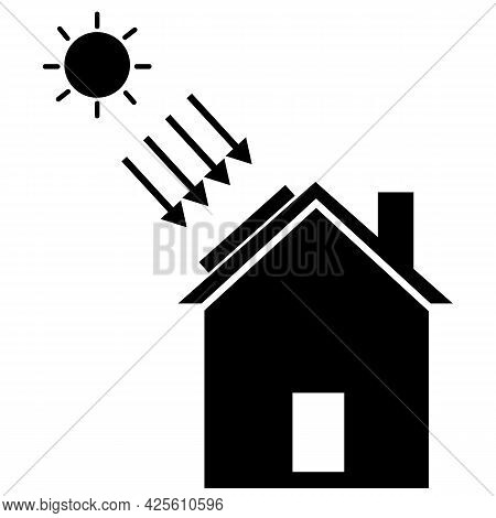 Solar Energy Concept. Eco House Sign. Solar House Logo. Solar Roof Panel Symbol. Flat Style.