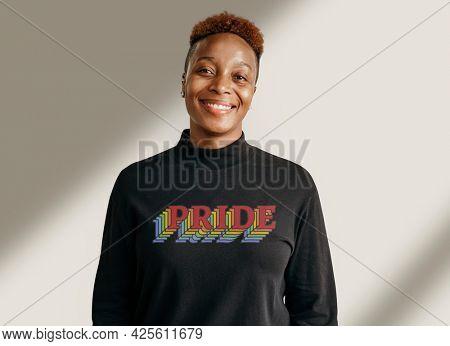 Black lesbian wearing a pride t-shirt mockup
