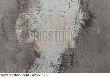 Plastered Walls Of Houses That Are Peeling And Look Old And Unclean.