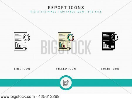 Report Icons Set Vector Illustration With Solid Icon Line Style. Customer Satisfaction Check Concept