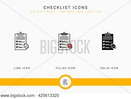 Checklist Icons Set Vector Illustration With Solid Icon Line Style. Customer Satisfaction Check Conc
