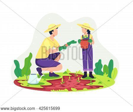 Parents Gardening With Their Children
