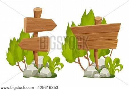 Set Wooden Pointer, Signboards With Rock Pile, Moss And Foliage In Cartoon Style Isolated On White B