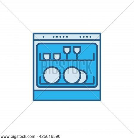Vector Dishwasher Concept Blue Modern Icon Or Sign