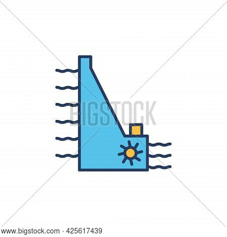 Hydropower Dam Vector Concept Colored Icon Or Sign
