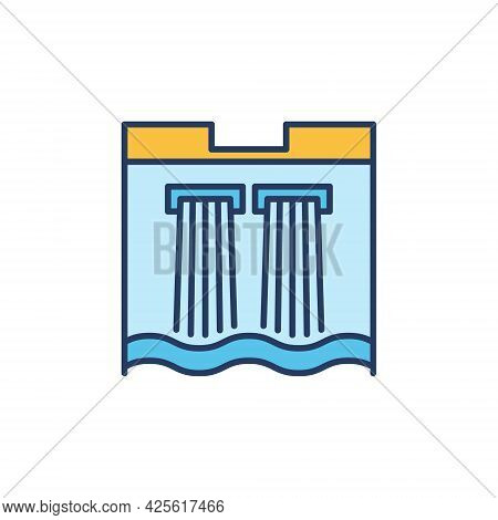 Water Dam Colored Icon - Hydroelectric Energy Plant Sign