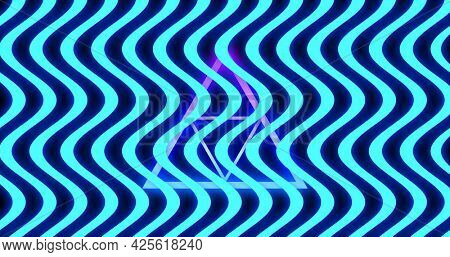 Image of multiple glowing neon blue waving lines moving over purple triangles on seamless loop. colour and movement concept digitally generated image.