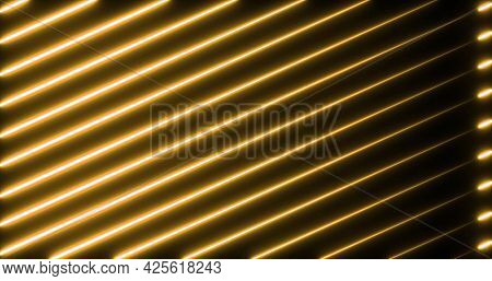 Image of multiple glowing neon orange diagonal lines moving on seamless loop. colour and movement concept digitally generated image.