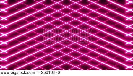 Image of multiple glowing neon pink diagonal lines crossing on seamless loop. colour and movement concept digitally generated image.