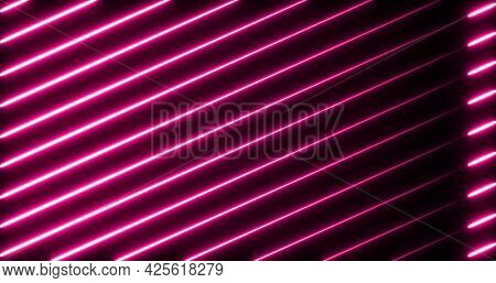 Image of multiple glowing neon pink diagonal lines moving on seamless loop. colour and movement concept digitally generated image.