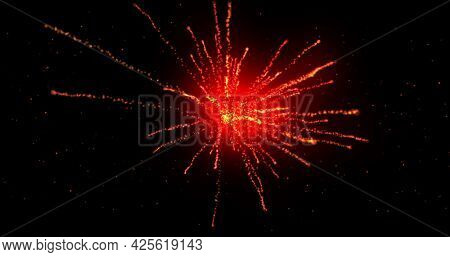 Glowing red firework exploding on black background with defocussed blue spots. lght, colour, energy and movement concept, digitally generated image.