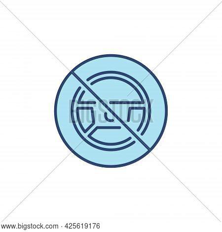 Steering Wheel Forbidding Blue Icon - Autopilot Banned Symbol