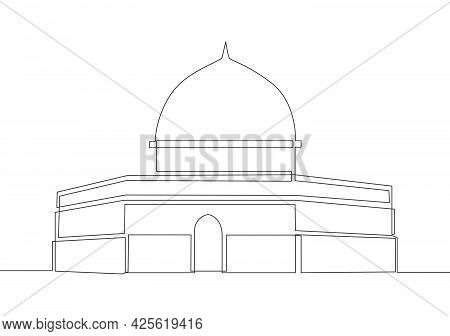 One Continuous Line Drawing Of Islamic Historical Landmark Masjid Or Mosque Dome Of The Rock. The An
