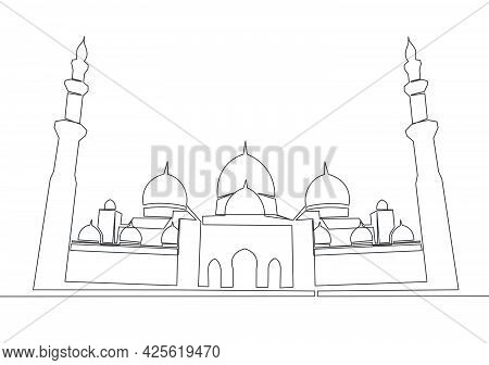 One Continuous Line Drawing Of Islamic Historical Landmark Masjid Or Mosque. The Ancient Building Th