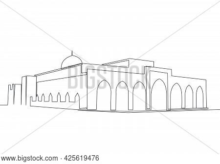One Single Line Drawing Of Islamic Historical Landmark Masjid Or Mosque Jami Al Aqsa. Holy Place To
