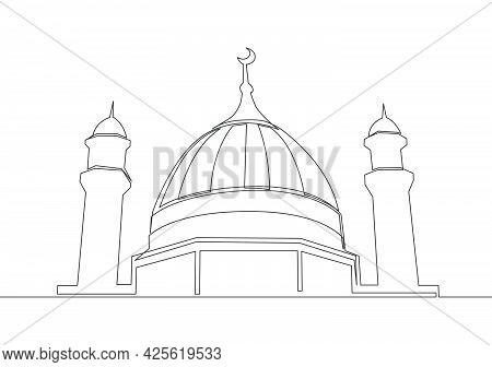 Single Continuous Line Drawing Of Historical Landmark Mosque Or Masjid. Historical Construction That