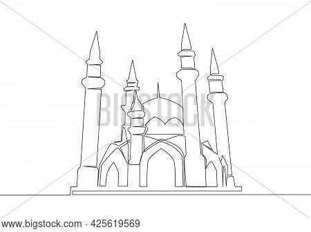 One Single Line Drawing Of Historical Dome Landmark Mosque Or Masjid. Holy Place To Prayer For Islam