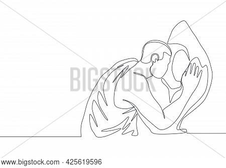 One Continuous Line Drawing Of Muslim Person Kissing Hajar Aswad Or Black Stone At Kaaba Building, M
