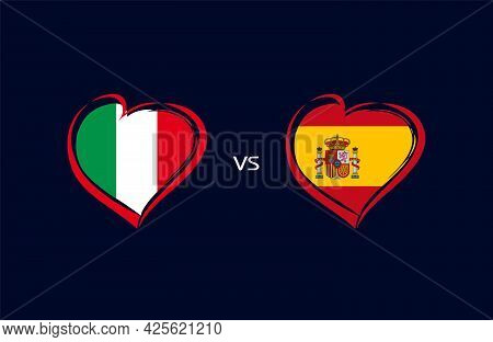 Italy Vs Spain, Flag Emblems Banner Blue. National Team Soccer Icons On Blue Background. Italian And