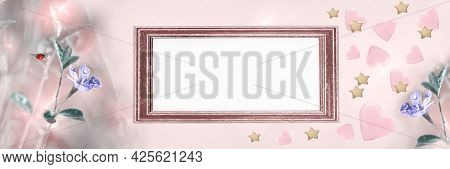 A Greeting Card Or An Invitation, With An Empty Paper In A Frame And Hearts. Widescreen Background,